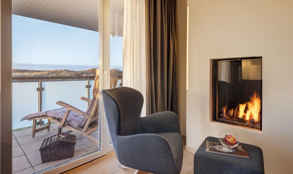 Hotel Die Sandburg Langeoog - Suite Kamin